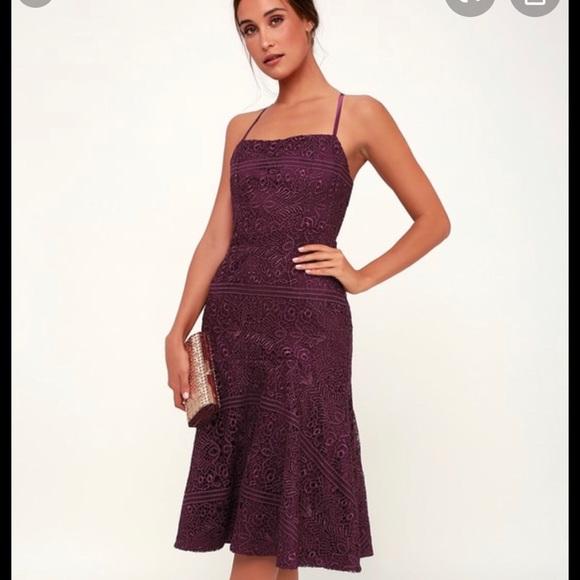 Lulu's Dresses & Skirts - Magic moments plum lace-up lace midi dress, XS